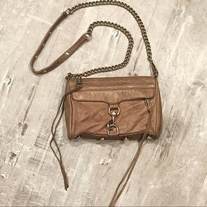 Rebecca Minkoff Mini Mac Crossbody Bag Tan Purse